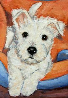 "de Westy Hugo y sus amigos | West Highland Terrier ACEO WESTIE PRINT Painting ""LITTLE PUPPY"" Dog Art RANDALL | on eBay♥♥"