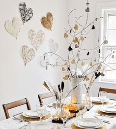 a wintery, eclectic, and modern Valentine's Day tablescape with homemade decorations
