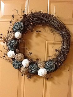 20 Off Gilded Wood Burlap and Fabric Rose by PumpkinHollow37, $24.00