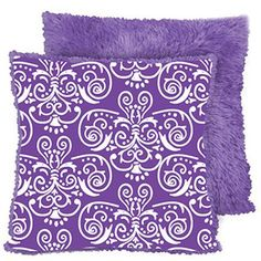 """your zone 16"""" faux fur reverse to print pillow in purple scroll print from Walmart"""