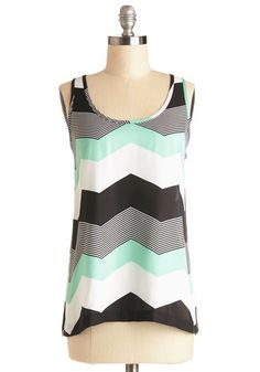 Shoppin' in Chi-Town Top by Jack by BB Dakota - Multi, Sleeveless, Sheer, Woven, Mid-length, Multi, Black, White, Mint, Chevron, Summer, Tank top (2 thick straps), Exclusives, Scoop, Spring