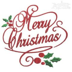 Merry Christmas Holly Embroidery Design By: Apexembdesigns.com