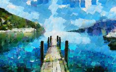 Ocean Pier Original Oil Painting 24 x 36  this style is inspirational