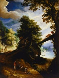 A wooded landscape with a bridge and sportsmen at the edge of the river,  Paul Bril, 1590s