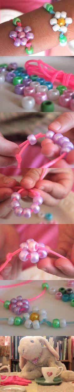 DIY Beaded Bracelet/ kids crafts/ daisy bracelet