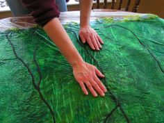 The basics of Nuno felting tutorial. Nuno Felting is blending 2 fibers- silk and wool. Members made their own Nuno Felt scarves in today's Art Workshop.