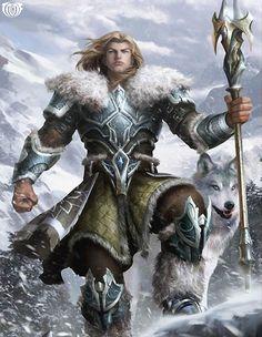 How I imagin Wulfgar in Ice Wind Dale  Artist: Yin Yuming - Title: Unknown - Card: Snowstorm Magic Warrior