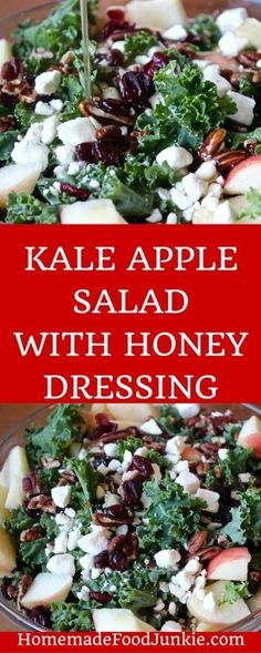 KALE APPLE SALAD WITH HONEY DRESSING This delicious Kale Apple salad ...