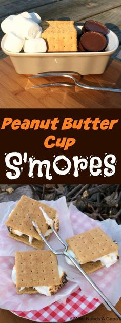 Ready for a spin on a classic treat? Peanut Butter Cup S'mores are a delicious spin on everyone's favorite campfire treat, you'll love them. Köstliche Desserts, Delicious Desserts, Dessert Recipes, Yummy Food, Smores Dessert, Peanut Butter Cups, Best Camping Meals, Camping Ideas, Campfire Meals