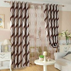 KoTing Home Fashion Polyester Modern Simple Style Classic Brown Wave Curve Geometry Jacquard Window Curtains Drapes Grommet Top1 Panel42 by 96Inch * Read more  at the image link.