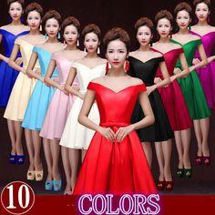 Courtes femmes rouge off épaule brides maides formelle lace up retour robes pour les adolescents haute couture robe 2016 mariages W2644 dans Robes de demoiselles d'honneur de Mariages et événements sur AliExpress.com | Alibaba Group