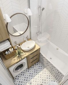 34 Awesome Small Bathroom Design Ideas For Apartment - It seems that one of the bathroom design trends is to make the bathroom larger. A spacious bathroom shows your preference for a comfortable lifestyle. Modern Bathroom Decor, Bathroom Design Small, Bathroom Interior Design, Very Small Bathroom, Bathrooms Decor, Bathroom Remodeling, Small Bathroom Ideas On A Budget, Bathroom Trends, Industrial Bathroom