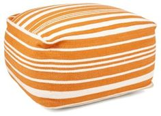 kids room, a check pattern is better OKL Exclusive Ellie Pouf, Orange/White
