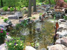 backyard ponds   Exterior, : Large Backyard Garden Fish Pond Ideas Design For Home ...
