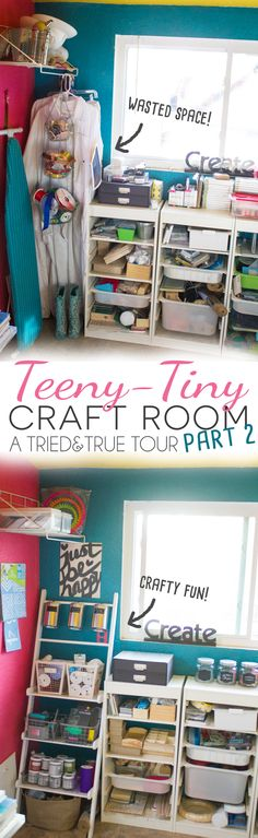 Organizational tips for a Teeny Tiny Craft Room! Utilizing a corner with creative storage options.