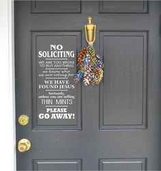 No Soliciting Thin mints Jesus Vinyl Decor Wall Subway art Lettering Words Quotes Decals Art Custom Willow Creek Signs