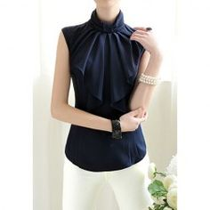 $12.85 Elegant Style Sleeveless Stand Collar Bow Tie Solid Color Chiffon Blouse For Women