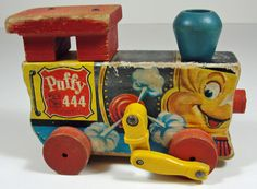 Vintage 1951 Pull Toy Fisher Price Wood Puffy Engine 444 Train Red Blue Kitsch Retro