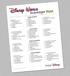 Why not add some extra fun to your family vacation by helping your little ones with a scavenger hunt? These items are scattered throughout Magic Kingdom, Epcot Center, Hollywood Studios, and Animal Ki Disney World Tips And Tricks, Disney Tips, Disney Fun, Disney Parks, Walt Disney, Disney Stuff, Disney 2017, Disney Secrets, Disney Cruise