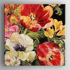 You Oil Painting Modern Floral Hand Painted Canvas with Stretched Framed – USD $ 99.99
