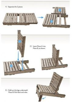 goede bouwtekening van een pallet stoel