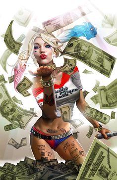 Drawing Dc Comics Harley Quinn: Blood Money - high quality 11 x 17 digital print – Greg Horn Art - Joker Y Harley Quinn, Harley Quinn Drawing, Harley Quinn Cosplay, Arte Dc Comics, Bd Comics, Comics Girls, Der Joker, Joker Art, Comic Books Art