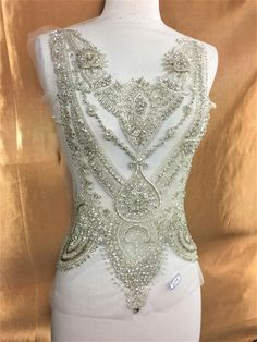 Silver Rhinestone Applique with Crystal Trim 3D lace Patches Great for DIY Neckline Bodice Belt Wedding Bridal Prom Dress A3