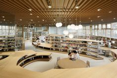 Kazunobu Nakamura's brilliant library design changed the lives of the Kikuchi residents – it sparked a love for reading, a love for libraries, but most importantly – a love for the city. Public Library Design, Bookstore Design, Kids Library, Central Library, Modern Library, Library Architecture, Interior Architecture, Interior Design, Architecture Mapping