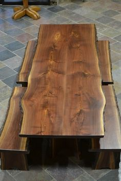 Custom Made Live Edge Walnut Slab Dining Table #benchideas