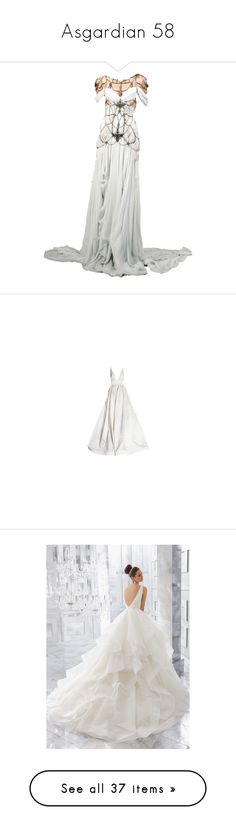 """Asgardian 58"" by enchantedrose33 ❤ liked on Polyvore featuring dresses, gowns, doll clothes, dolls, baby doll dress, doll dress, babydoll dresses, long dress, white evening dresses and white dresses"