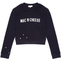 Gem&i - Mac n Cheese Sweater ($39) ❤ liked on Polyvore featuring tops, sweaters, stitched jerseys, blue jersey, cropped sweater, reversible jersey and embroidered sweaters