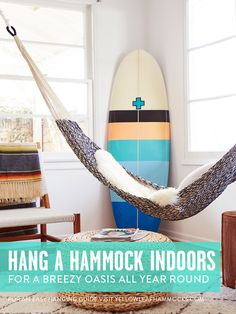 """SERIOUS Relaxation Upgrade! Easily Hang a Hammock Indoors -- or Outside -- with a """"Hammocking 101"""" Guidebook at Yellow Leaf Hammocks."""