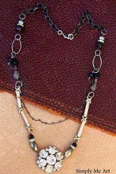 Vintage Rhinestone Pyrite Pearl and Gemstone One of by simplymeart, $86.00