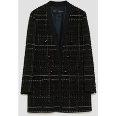 CHECKED FROCK COAT WITH TEXTURED WEAVE - BLAZERS-WOMAN | ZARA United... (£80) ❤ liked on Polyvore featuring outerwear, coats, blazer, frock coat, checkered blazer, checked blazer, checked coat and blazer jacket