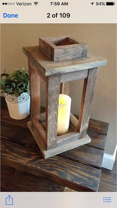 Wooden lantern candle holder