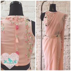 Roses and Birds saree with belt Call/Message Stylish Blouse Design, Fancy Blouse Designs, Saree Blouse Patterns, Saree Blouse Designs, Saris Indios, Saree With Belt, Saree Belt, Sari Design, Woman Clothing