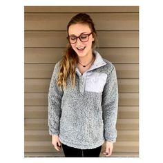 Women's Monogram Sherpa Quarter Zip Sweatshirt Half-Zip Women's... ($46) ❤ liked on Polyvore featuring tops, hoodies, sweatshirts, grey, women's clothing, 1 4 zip pullover, monogram half zip sweatshirt, sherpa sweatshirt, pullover sweatshirt and sherpa pullover