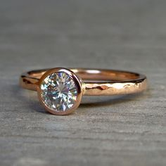 Engagement Ring - Moissanite and Recycled 14k Rose Gold, Eco-Friendly Diamond Alternative, size 8. $1,028.00, via Etsy.