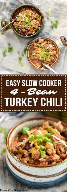 Easy Slow Cooker 4-Bean Turkey Chili recipe - A slow cooker classic that should be in everyone's cookbook! A hearty bean and turkey chili with some smokey kick! - http://ProjectMealPlan.com