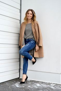 french style basics, striped top, distressed skinny jeans, camel coat, black pumps, ombre hair, fashion blog, the august diaries3