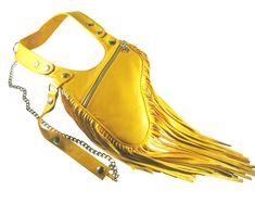 """Holster bag """"ESTELLE"""" shoulder bag holster revolverbag shoulderbag yellow leather halterbag summer f Leather Skin, Leather Wallet, Sacoche Holster, Nose Mask, Bronze, Long Fringes, Mouth Mask, Yellow Leather, Summer Bags"""