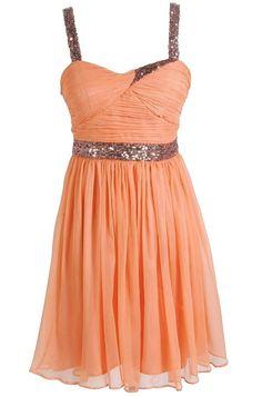 cool Sparkle and Shine Chiffon Designer Dress by Minuet in Orange Peach- So pretty, p...