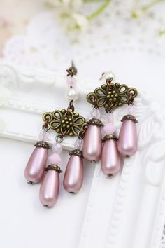 Pink Earrings with Pearl Drops, Vintage Style Earrings, Pink Dangles, Victorian Earrings, Pearl Earrings, Bridesmaids Gift, Gift under 15 by TrinketHouse on Etsy