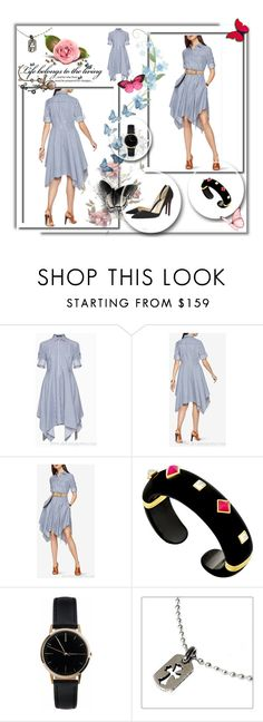 """""""BCBG Beatryce Striped Shirt Asymmetrical Dress"""" by evermissjody ❤ liked on Polyvore featuring Christian Louboutin, Freedom To Exist and Chrome Hearts"""