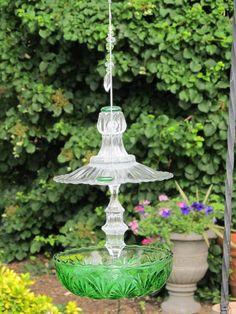 glass bird feeder-colbalt blue & dark green or deep purple & orange would be beaitiful!
