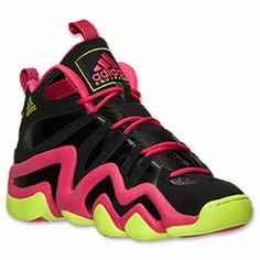 Men's adidas Crazy 8 Basketball Shoes | FinishLine.com | Black/Vivid Berry/Solar Slime