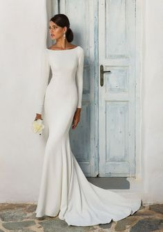 Justin Alexander - Style 8936: Crepe Long Sleeve Wedding Dress with Beaded Illusion Back