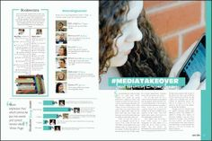 Newspaper/magazine spread- media takeover: twitter, technology, effect on school, effect on lives, pros & cons