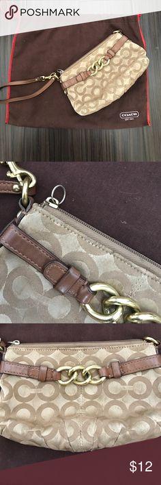 Coach Wristlet Cute Coach C print wristlet. Missing zipper. Worn purse. Versatile. Coach Bags Clutches & Wristlets