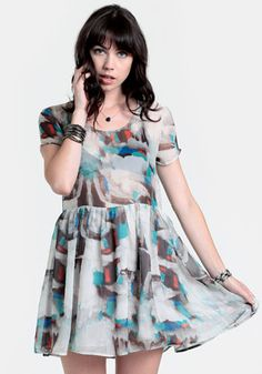 Sadie Watercolor Babydoll Dress at #threadsence @threadsence